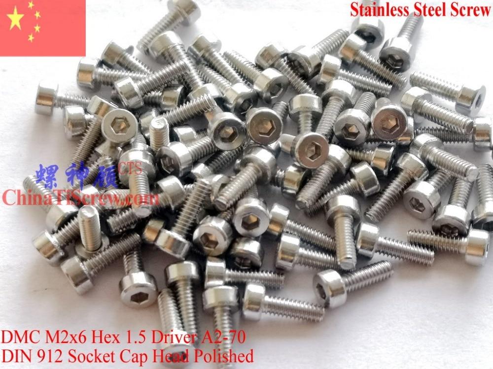 Stainless Steel screws M2x6 DIN 912 A2-70 Polished ROHS 100 pcs купальник слитный женский lowry цвет голубой lss 22 размер 3xl 52 54