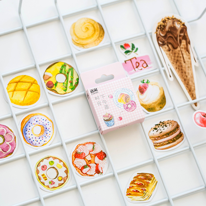 Have An Inquiring Mind 50pcs/set Afternoon Tea Time Paper Sticker Decoration Diy Handmade Arts Craft Sticker Christmas Gift Relieving Heat And Sunstroke Office & School Supplies