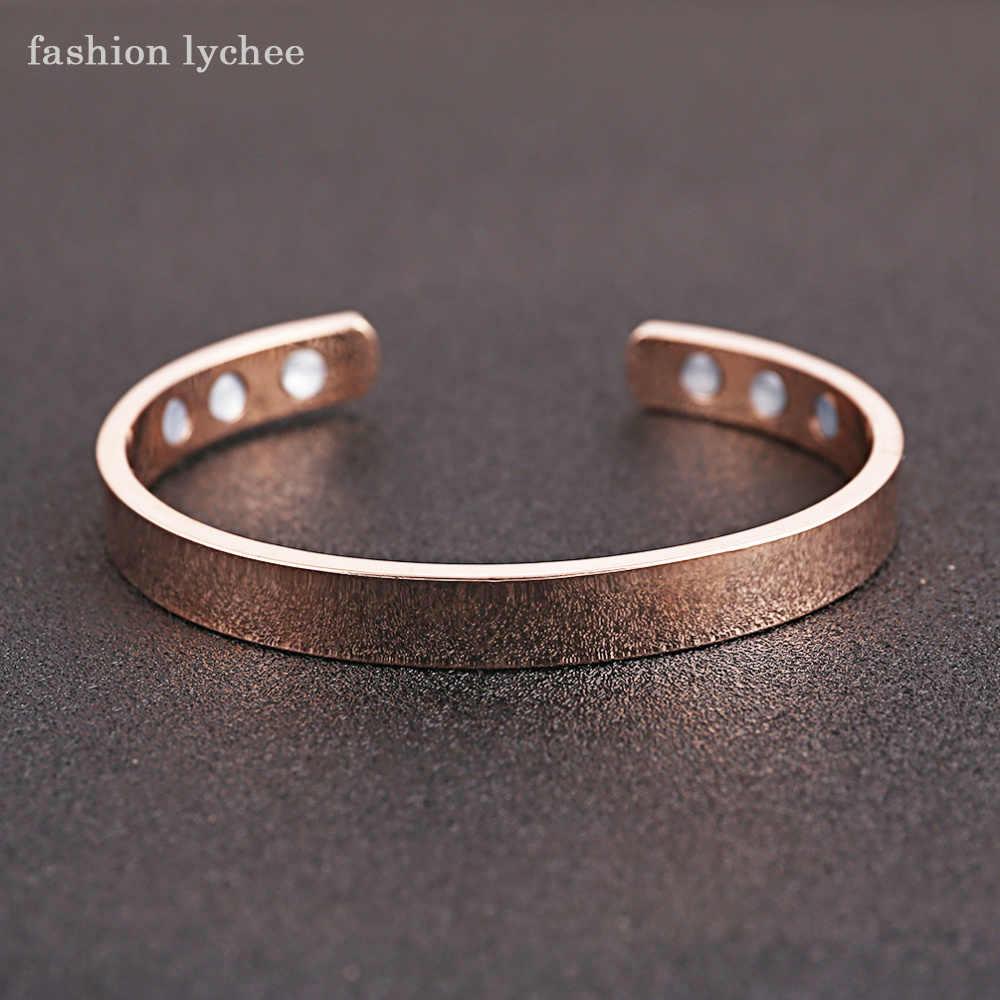 c0b1ad8a3c0 ... fashion lychee Magnetic Copper Bangle Bracelet Healing Bio Therapy  Arthritis Pain Relief Cuff Bangle Women Men ...