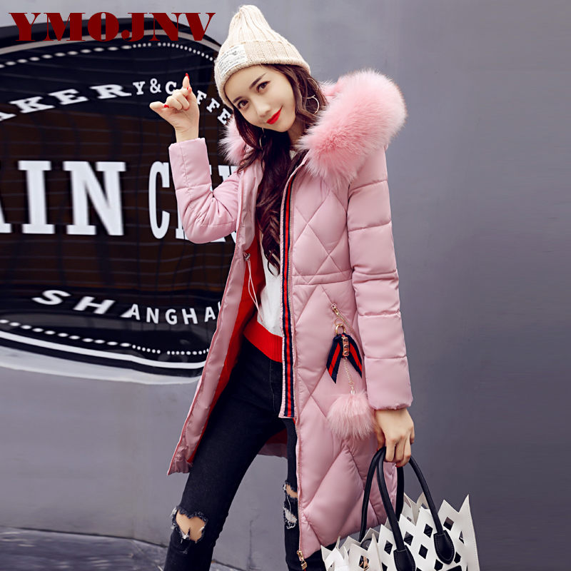 YMOJNV 2017 New Artificial Fox Fur Collar Winter Jacket Women Thicken Warm Coat Long Down Wadded Jackets Parka Female Outerwear 2017 winter new clothes to overcome the coat of women in the long reed rabbit hair fur fur coat fox raccoon fur collar