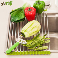 YOTOP Roll-Up Folding Over the Sink Serbaguna Roll Up Dish Pengering Rack silikon Colander Dilipat Sink Pengering Dulang Colanders