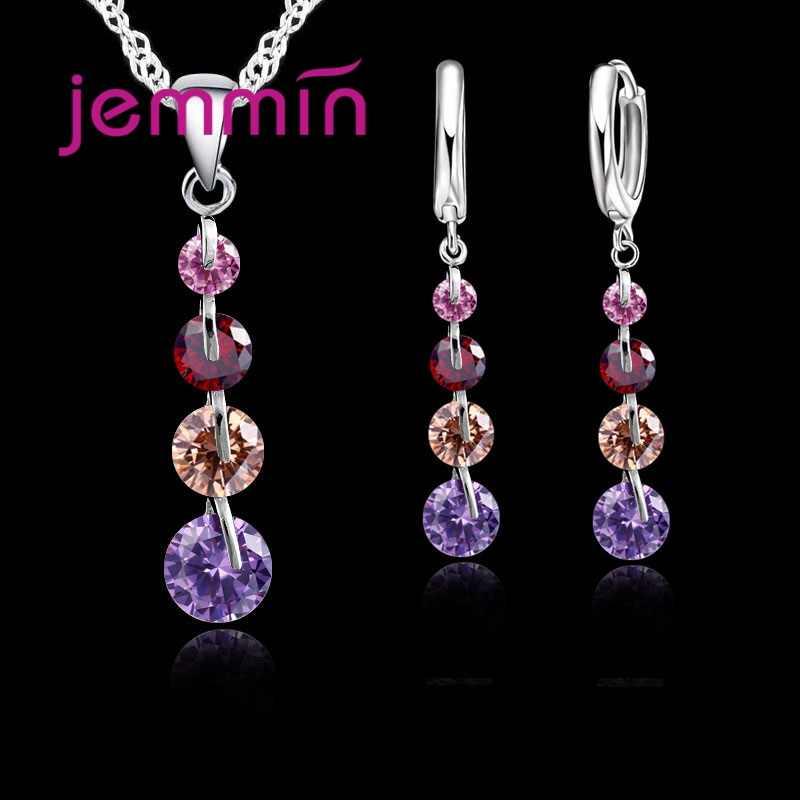 Romantyczny 925 Sterling Silver Link Chain kryształowy naszyjnik komplet biżuterii damskiej kolczyki zestawy biżuterii ślubnej