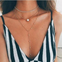 Hot Fashion Gold Color Multilayer Coin Tassels Lariat Bar Necklaces Beads Choker Feather Pendants Necklaces For Women Bijoux F1(China)