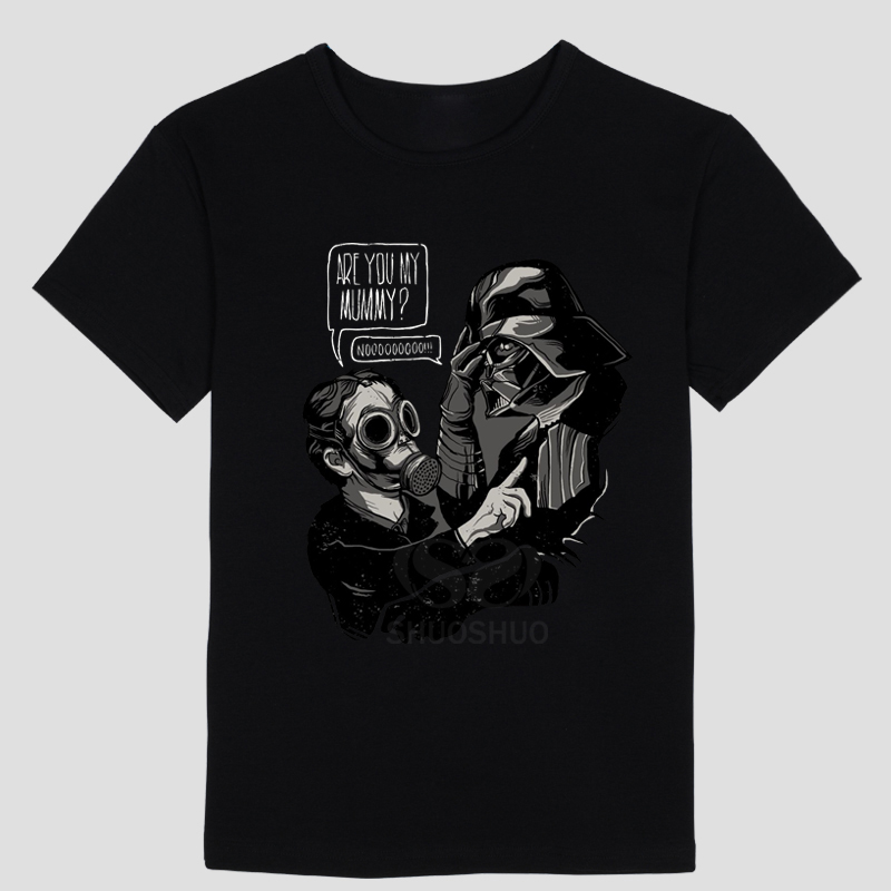 Are You My Mummy Darth Vader T Shirt Funny Doctor Who Star Wars mashup design featuring Lord Vader and the Empty Child