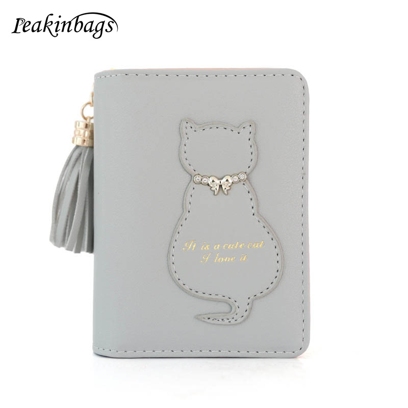 Simple Fashion Zipper Coin Purse Cute Cat Women Purse Tassel Short Wallet Ladies Small Change Card Holder New Year Gift Popular