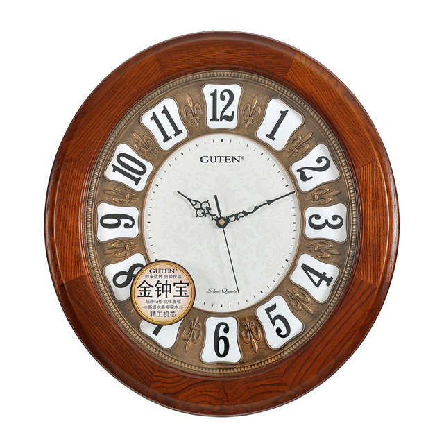 Admiralty Po Continental Wood Wall Clock Large Oval Living Room Upscale Art Deco Mute Quartz