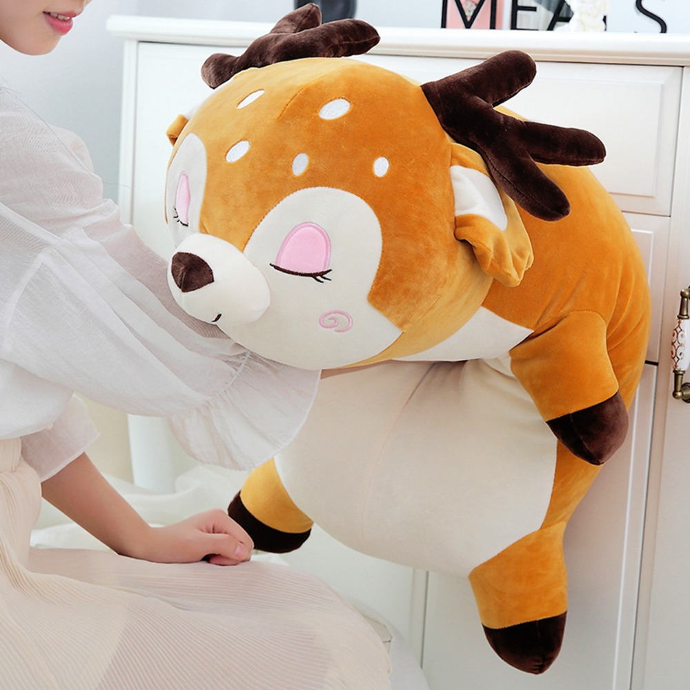 YESFEIER 95cm 1PC Kawaii Deer StuffedSoft Plush Doll Baby Lovely Sika Deer Animal Soft Pillow Toy Children Birthday Gifts