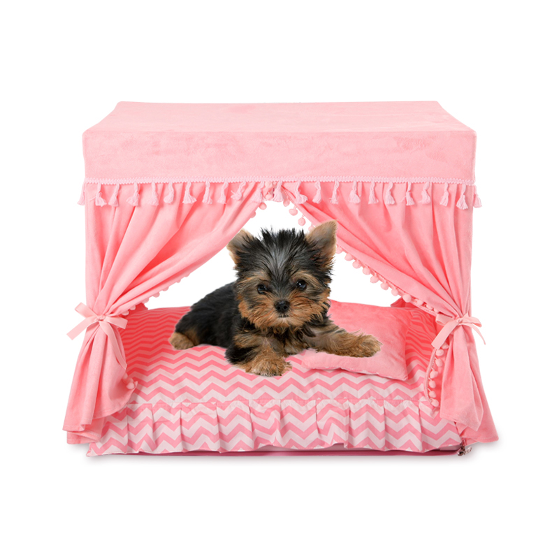 Princess Home For Dog Luxury Winter Summer Pet Court Kennel House With Cushion Bed Mats For