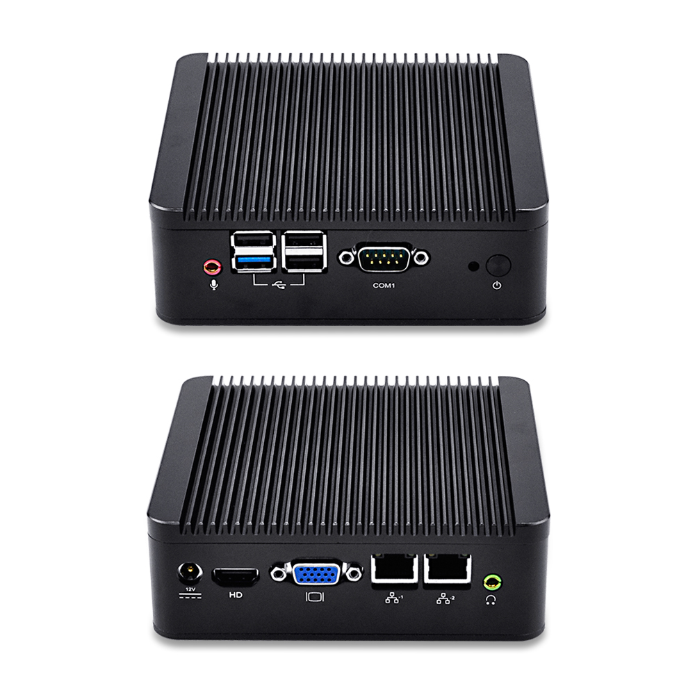 Qotom-Q190S-S02 Mini PC with Celeron J1900 CPU Quad Core Processor School PC SSD Hard Drive Dual LAN Nic PC Desktop Computer