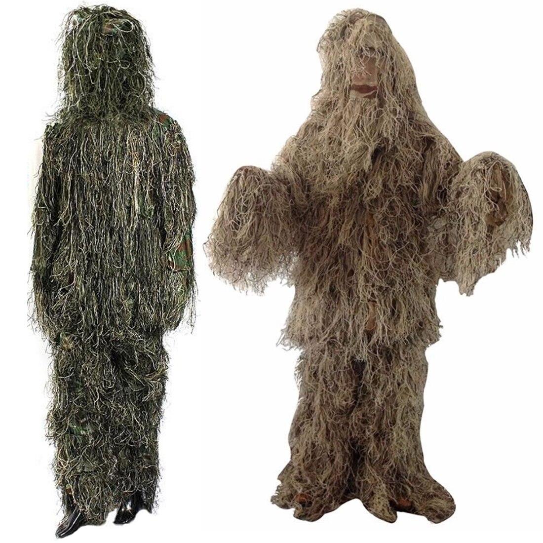 Réglable Taille Unisexe Camouflage Costumes Woodland Vêtements Ghillie Costume Pour La Chasse Armée Militaire Tactique Sniper Set Kits