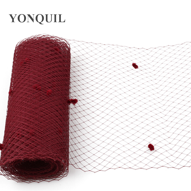 25CM Wine Red Or Multiple Color Dot Birdcage Veil Bridal Netting Hair Accessory Millinery Veilling DIY Fascinator Base Headpiece