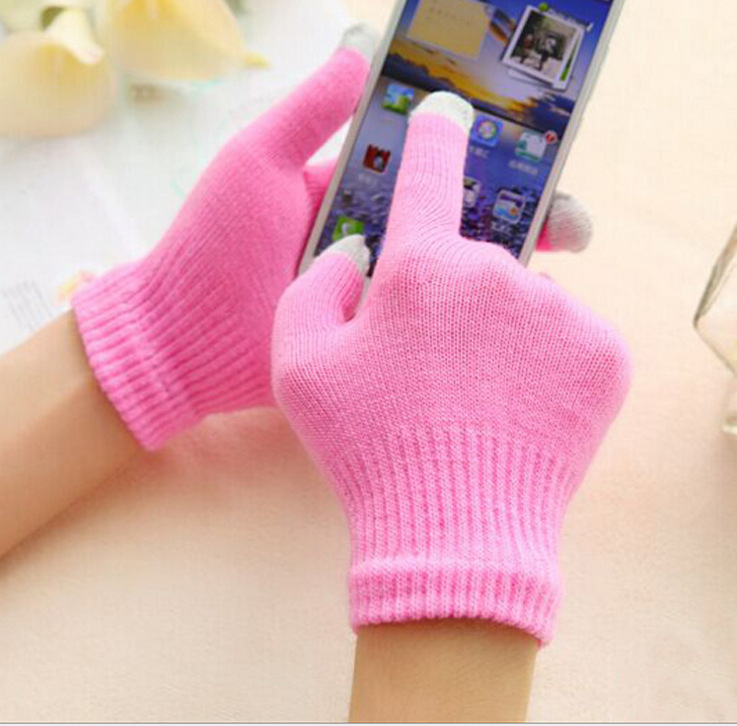Women Warm Gloves Winter Colorful Touch Screen Phone Gloves For Girls Knitted Five Fingers Wrist Gloves