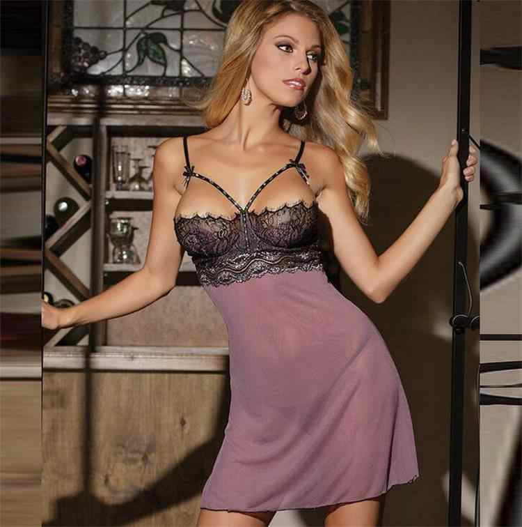 535e4e2c02 Sexy Lingerie Women Hot Open Bra Perspective Lace Pajamas Lady Sleepwear  Sexy Underwear Erotic Lingerie Plus