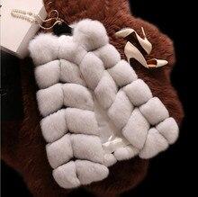 Medium-long Women Nature Fox Fur Vest Elegant Style Classic Plaid Real Fur Coat Lady Waistcoat DA-10