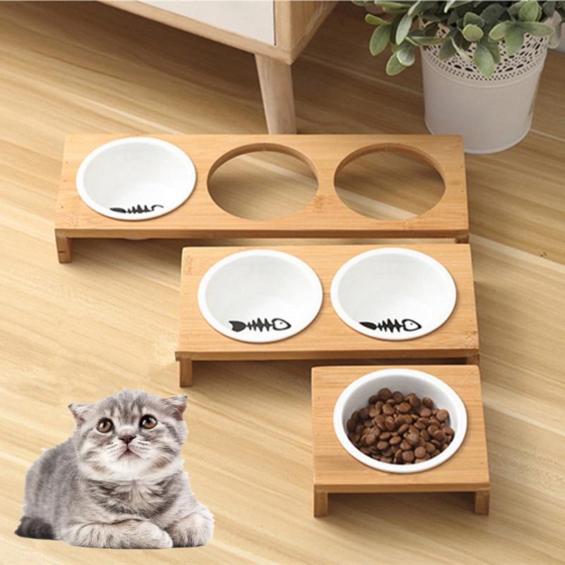 Fashion Cat Dog Feeders Bowls Bamboo Tableware Ceramic Pet Food Water Bowl High Grade Antiskid Pet Supplies Dog Cat Bowl