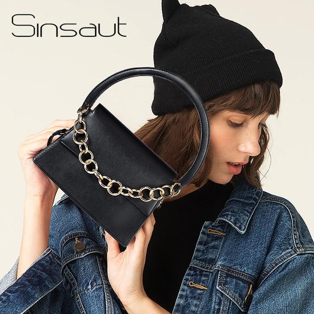Sinsaut Bags Women Handbags with Gold Chains Totes Bag PU Simple Fashion Flap  Bags For Women 2018 Messenger Bag
