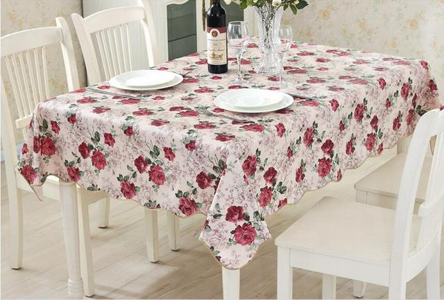 PVC Waterproof And Oilproof Rose Flower Floral Tablecloths For Restaurant  Home Outdoor Hotel Party Table Cloth