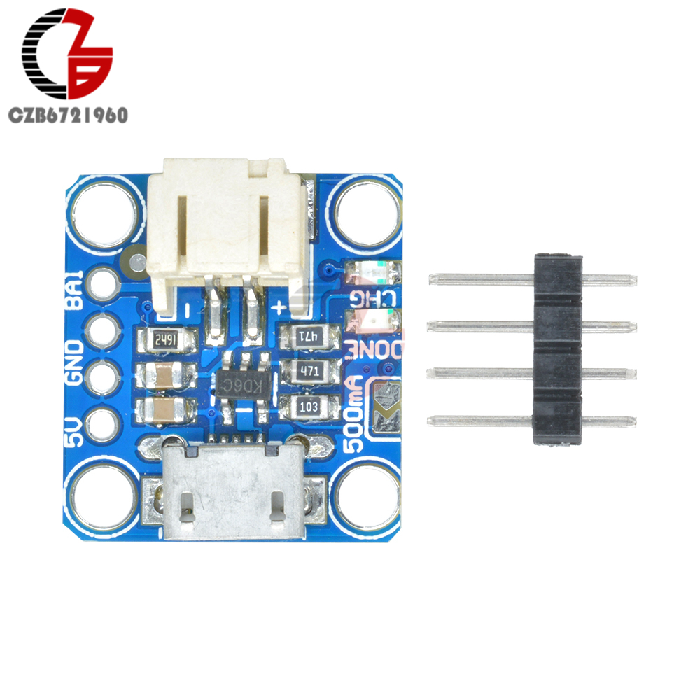 3,7 V 4,2 V Micro Lipo USB Placa de cargador de batería de litio micro-b módulo de carga de batería de iones de litio con indicador LED JST Socket