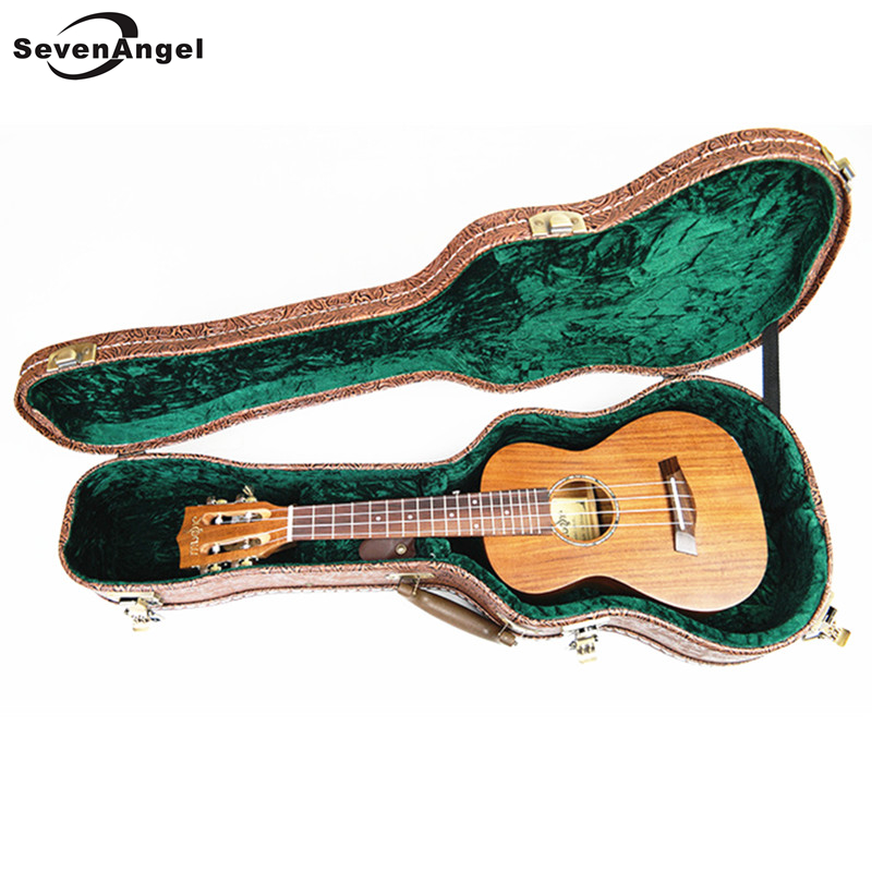 SevenAngel 23 Professional Ukulele Concert 4 strings Guitar Top Panel for solid Acacia wood KOA Electric Ukelele with EQ+ Case