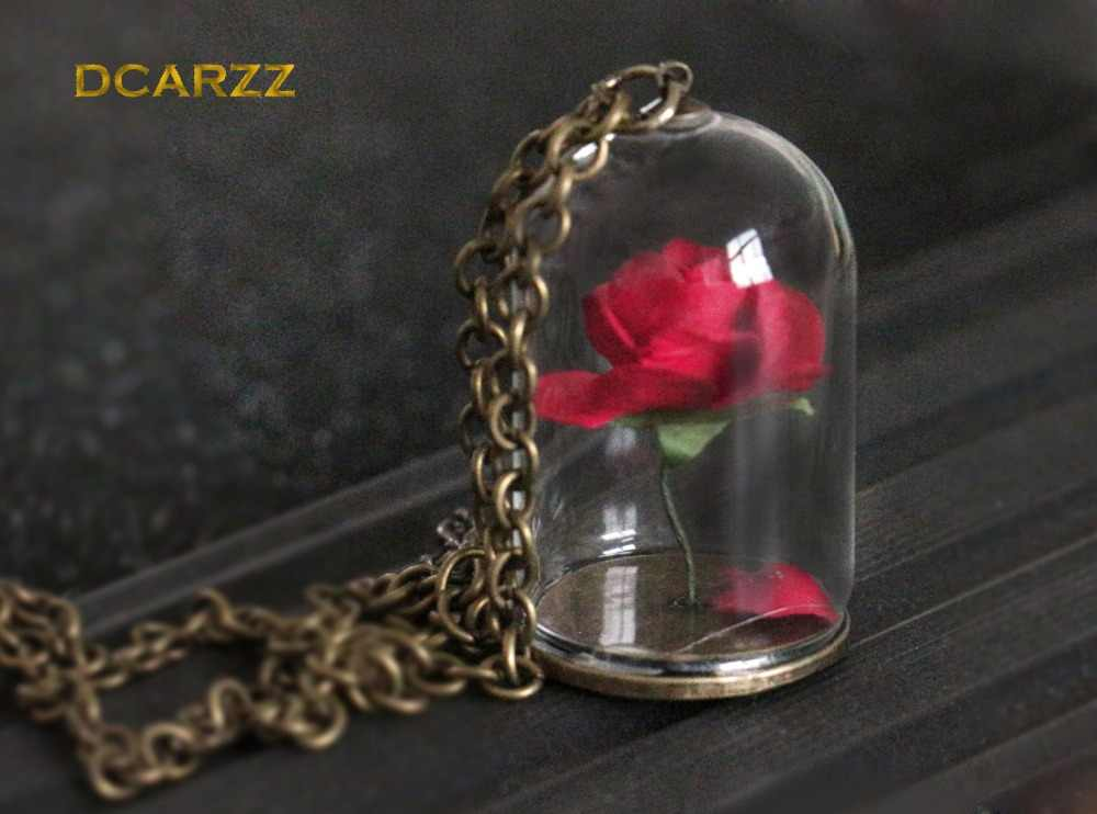 37d16df72e Detail Feedback Questions about Beauty and the Beast Necklace Rose in  Terrarium Pendant His Beauty/Her Beast Valentines Day,Fairy Tale Movie  Victorian ...