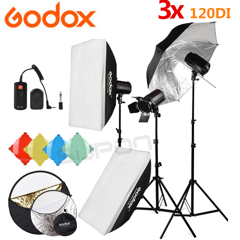 GODOX 3 120Ws 220V Pro Photography Studio Strobe Flash Light 360W Kit Light stand DC 04