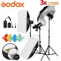 GODOX 3*120Ws 220V Pro Photography Studio Strobe Flash Light 360W Kit + Light stand + DC 04 Flash Trigger + 5 in 1 Reflector