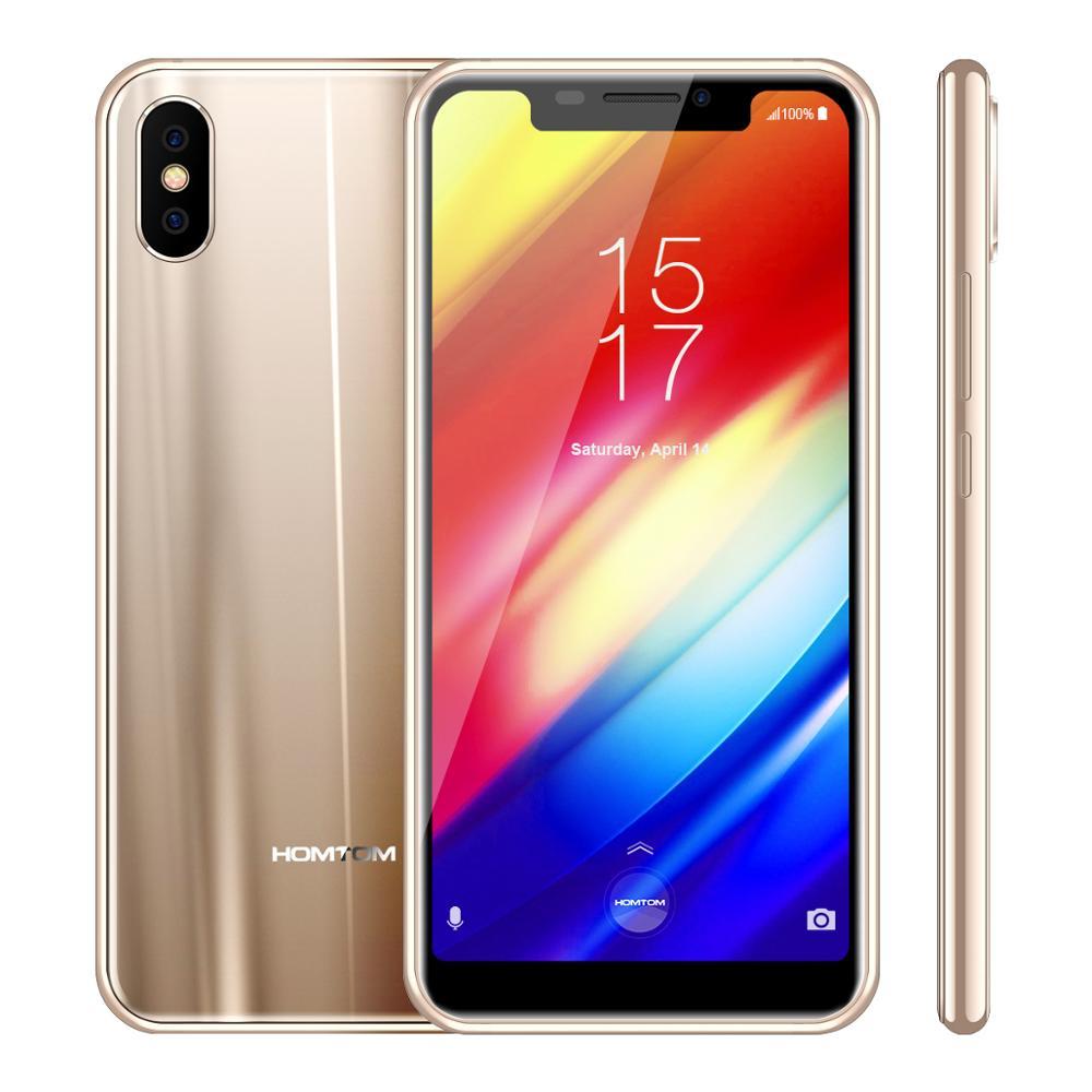 HOMTOM H10 4 GB 64 GB téléphone portable Android 8.1 identification de visage 4G 5.85 ''écran Octa Core 3500 mAh 16MP téléphone intelligent d'empreinte digitale latérale