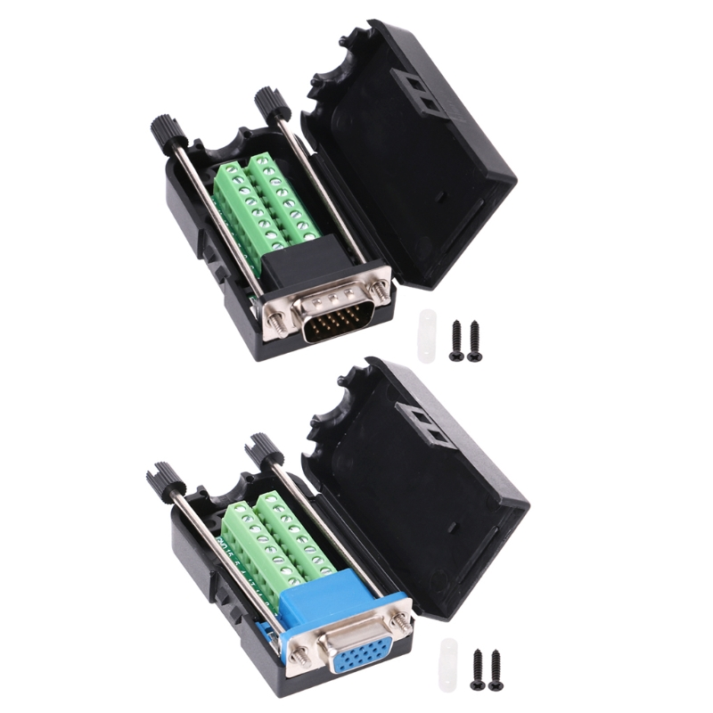 D-SUB DB15 VGA Male Female 3 Rows 15 Pin Plug Breakout Terminals Screw Type DIY Connector