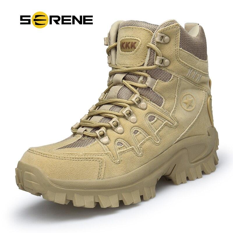 Безмятежное бренд Для мужчин сапоги военной загрузки тактические большой Размеры армии Bot мужской обуви безопасности армейские Для мужчин ...