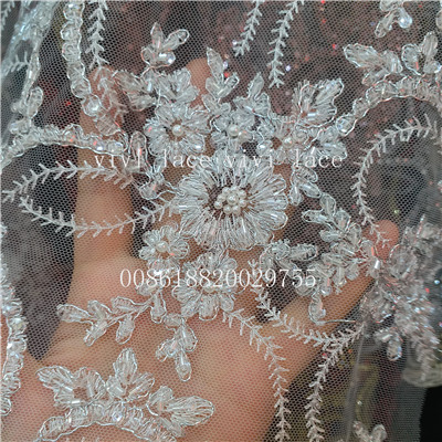 5 yards ysl002-9 silver mix offwhite hand work beads pearls net tulle mesh  lace 157de95de398