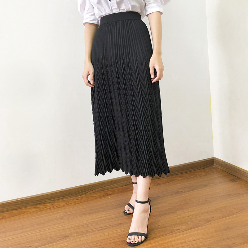 Women Skirt 2019 Autumn New Three dimensional Geometric Pleated High Waist Half length Skirt