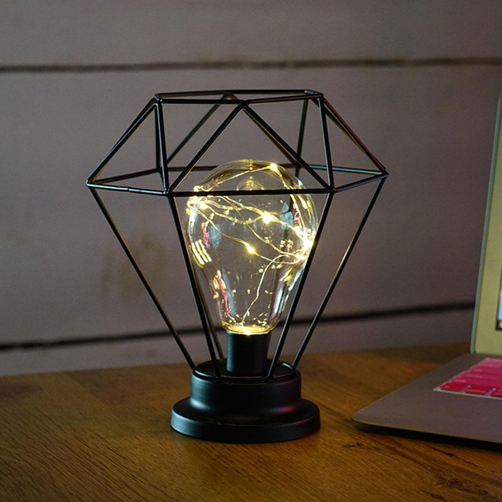 Iron Kandelaar Gloeiende Licht Diamant Vorm Lamp Warm Wit Heldere ...