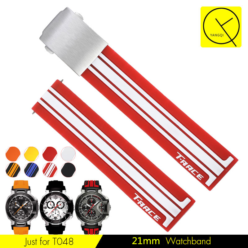 Watchband Silicone Rubber Bands for Tissot T048 T-Race T-Sports Watches Replace Wristwatch Band Sports Watch Strap T048.417+Tool