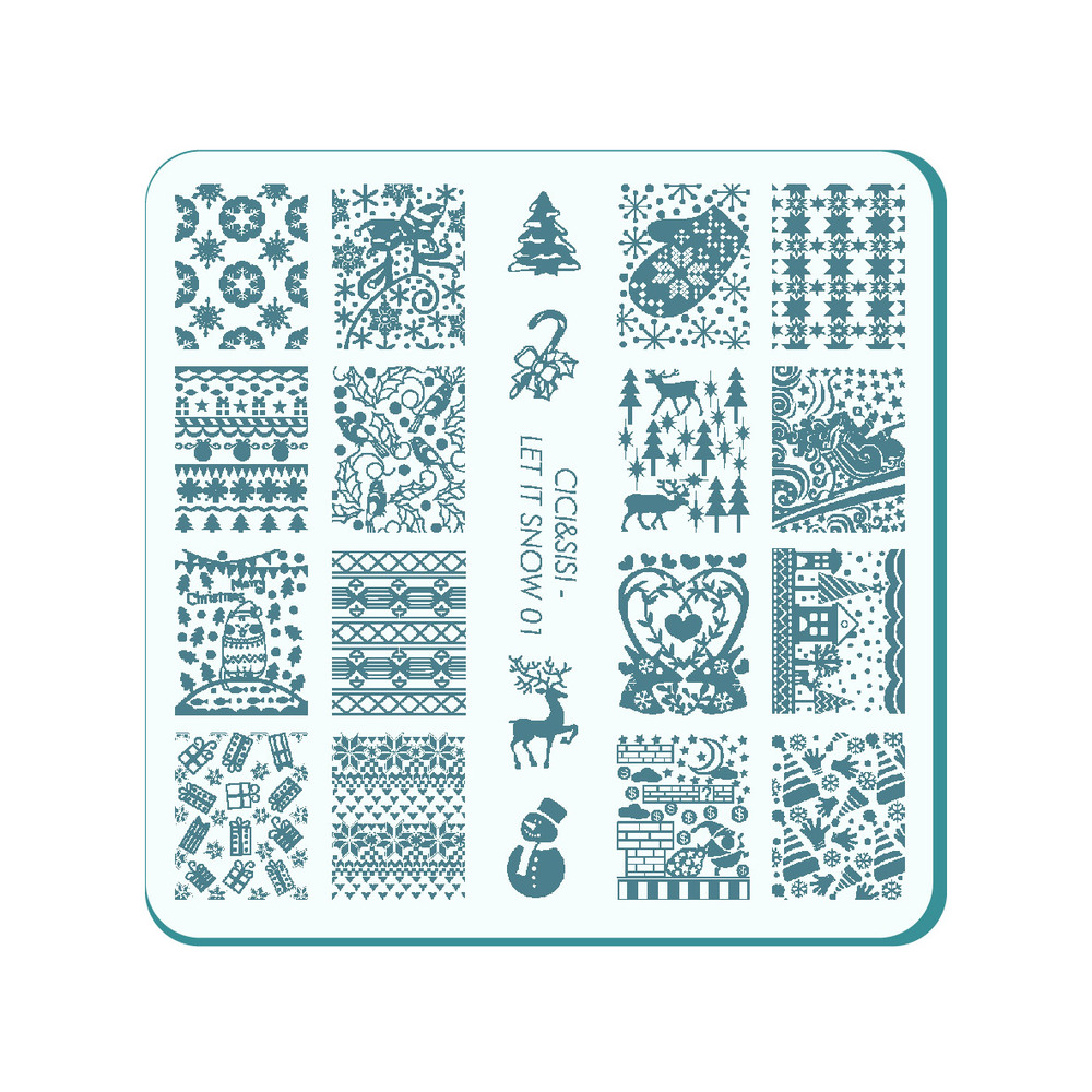 CICI&SISI Acrylic Nail Stamping Plate Nail Art Stamp Template Image Plate for Christmas let it snow series 01-04 nail stamping plates nail art stamp template image plate nails diy tool acrylic stamp wedding theme set 01 04