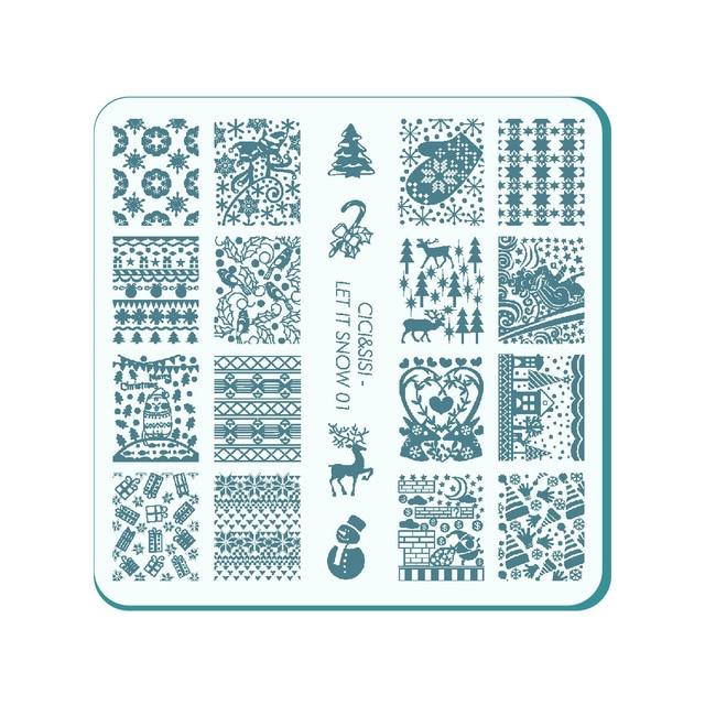 CICI&SISI Acrylic Nail Stamping Plate Nail Art Stamp Template Image ...