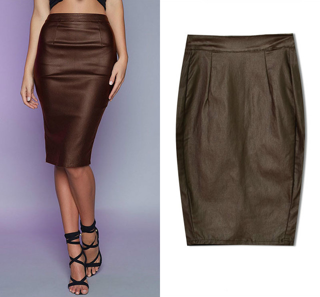 Newest High Waist Leather Skirts