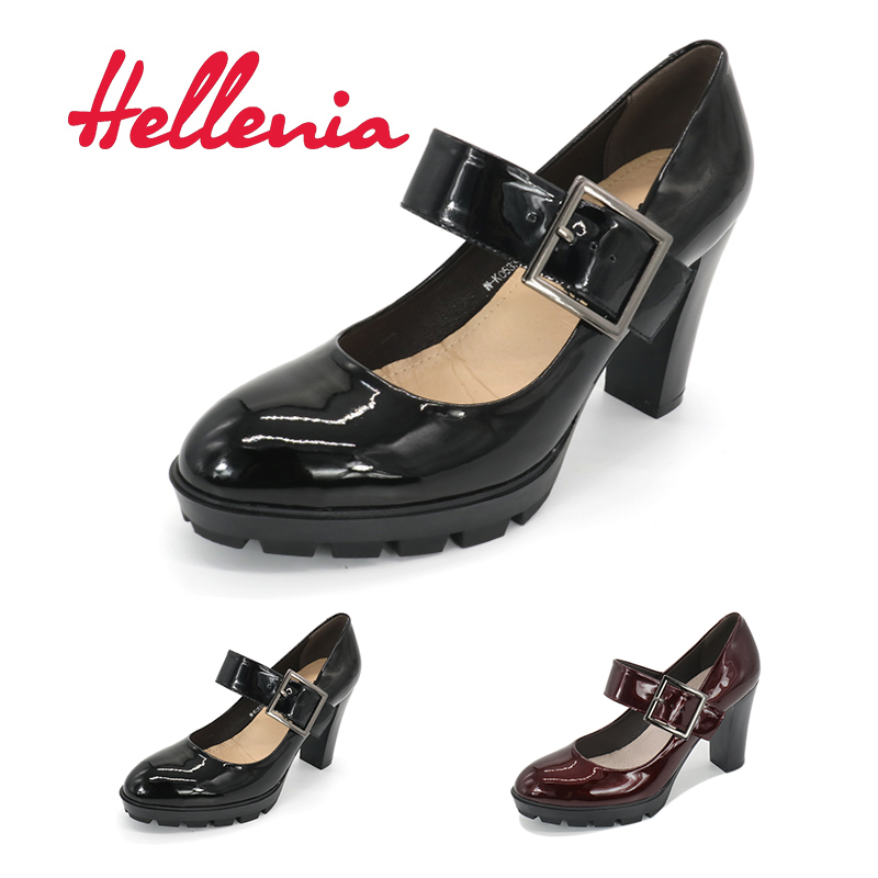 Hellenia  PU Leather Pumps Black Wine Handmade Shoes Office Lady New Pointed toe Shallow  Fashion Shoes Autumn Girls Footwear