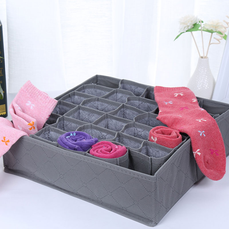 Home Organizer 30 Cell Bamboo Charcoal Underwear Socks Ties Storage Box With Transparent Cover Drawer Closet Storage Box