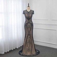 Sang trọng Màu Xanh Hải Quân Thạch Mermaid Evening Dresses Dài Evening Gown Cạnh Tranh Cap Tay Áo 2019 YQLNNE