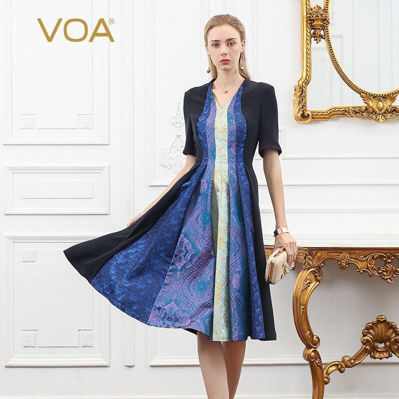 VOA Soie Lourde Midi Robe Femmes Robes Plissées Vintage V Cou Demi Manches Tunique Automne Rétro Élégant Grande Taille robe a971