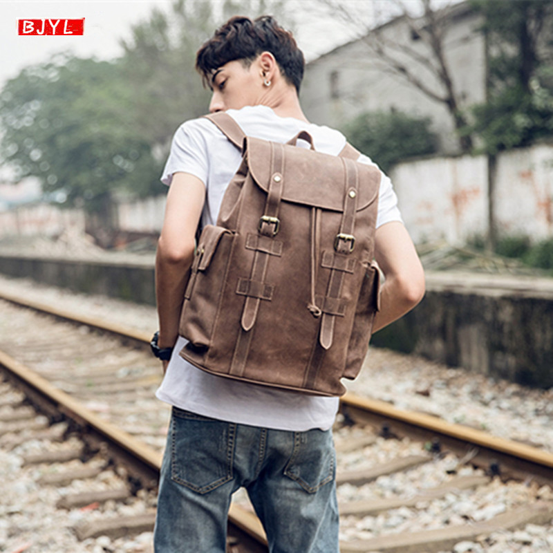 2019 Retro crazy horse leather mens backpack first layer leather shoulder bag Original handmade men computer travel backpacks2019 Retro crazy horse leather mens backpack first layer leather shoulder bag Original handmade men computer travel backpacks