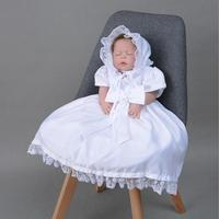 White Iovry Lace Baby Girl Baptism Christening Purification Long Gown Dress Newborn Princess Wedding Birthday Outfit with Hat