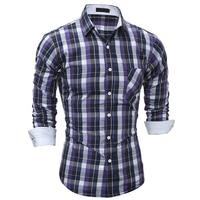 2017 New men brand shirt Hot Sale Camisa Masculina Dress Shirts Long Sleeve Plaid Men Casual Shirts Slim chemise homme shirt LYJ