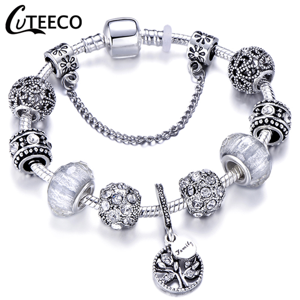 HTB1QknEX5jrK1RjSsplq6xHmVXaC - CUTEECO Antique Silver Color Bracelets & Bangles For Women Crystal Flower Fairy Bead Charm Bracelet Jewellery Pulseras Mujer