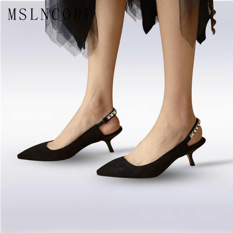 a31978cd84a79e Plus Size 34-43 New fashion women Summer Crystal Slingback sandals woman  Kitten Heel Party