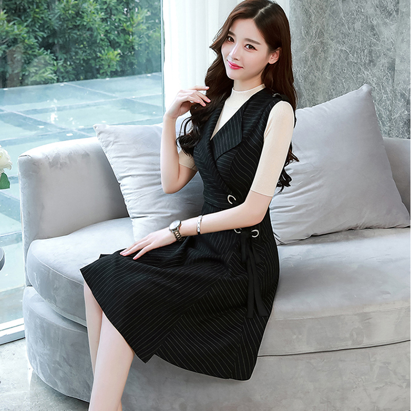 New Women Fashion Chiffon Sleeveless Dress 2019 Spring V neck Suit Temperament Solid Color Waist Casual Office Ladie Dress Trend in Dresses from Women 39 s Clothing