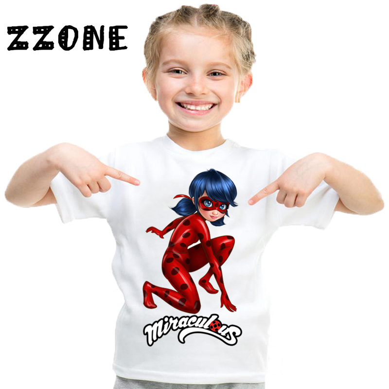купить Children Miraculous Ladybug Cartoon Funny T shirt Baby Boys Girls Summer Short Sleeve Tops Kids Casual Clothes,HKP2414 по цене 352.91 рублей