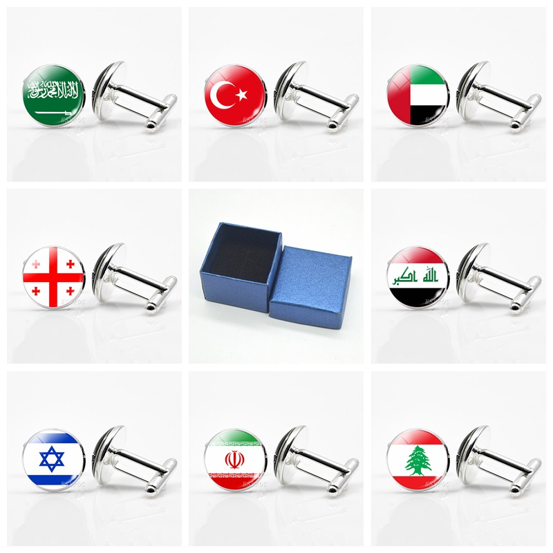Western Asia National Flag Cufflinks Turkey Saudi Arabia Israel Georgia Lebanon Flag Silver Cufflinks Men Wedding Gifts