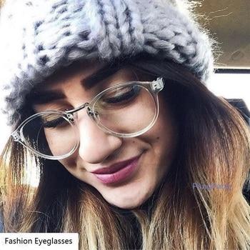 2019 Eyeglasses Frame Women Transparent Round Glasses Clear Frame Spectacle Myopia Glasses Men Frame Nerd Optical Frames Black 1
