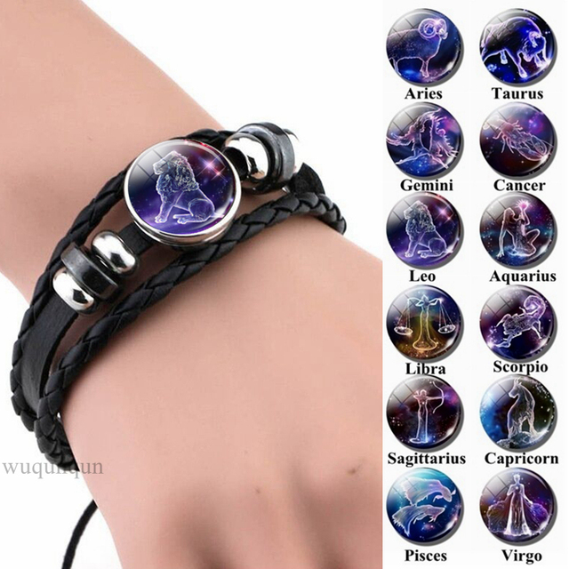 12 Zodiac Signs Constellations Black Button Woven Leather Bracelet Glass Dome Jewelry Men Aries Libra